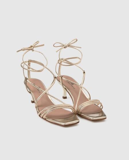 Sandalias de tacón de mujer Gloria Ortiz de piel en color oro