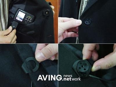 Botón de chaqueta con cámara