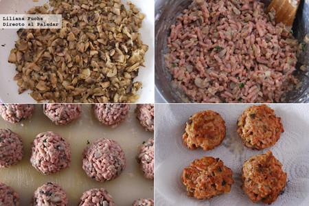 Albóndigas de pavo y champiñones. Pasos de la receta