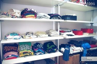Antes y después: ordenando el armario con ayuda de un plegador de ropa