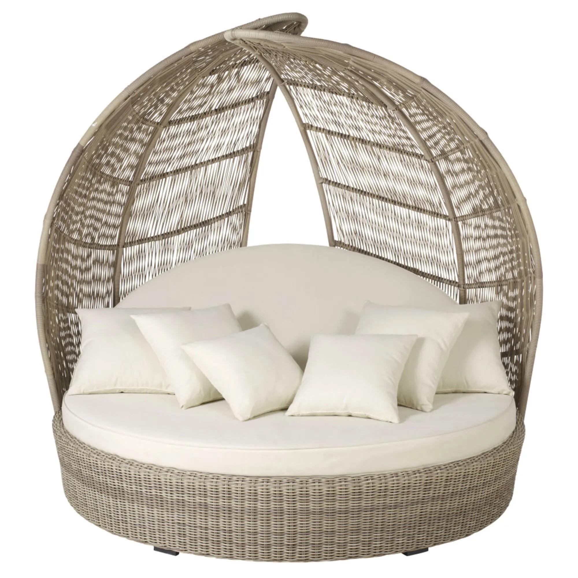 Tumbona redonda de 2 plazas de resina y cojines blancos PARADISIO