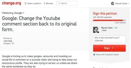 peticion comentarios youtube