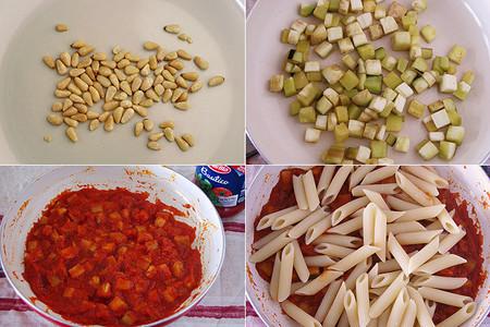 Este plato de Penne con salsa Pomodoro Basilico Barilla, berenjena y ricotta salada. Pasos