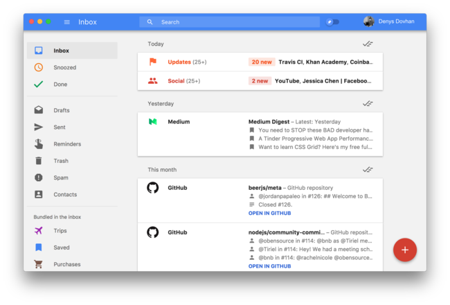 Inboxer, el cliente no oficial de Google Inbox para Windows, Mac y Linux