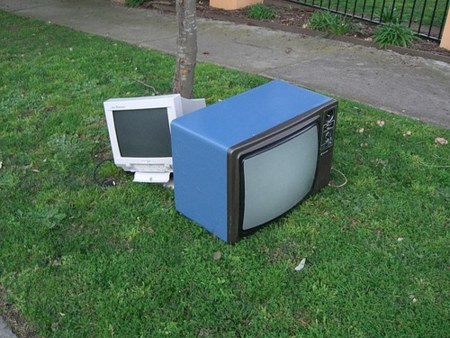 old tv and monitor