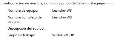 Nombre del equipo en Windows 8
