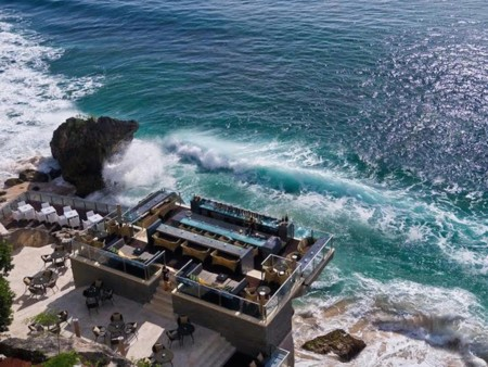 Rock Bar In Kuta Baliiscarved Into A Cliff Face And Overlooksthe Indian Ocean From A Rocky Perch 46 Feet Above Crashing Waves Even Better Than Sitting On The Water Having To Take A Four Person Cable Car To Get There