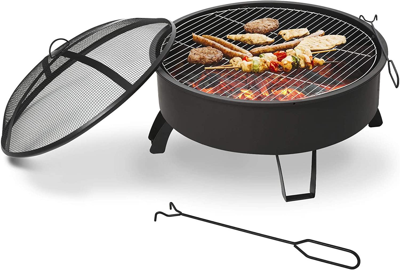 Outsunny Brasero Exterior Ø76 cm 2 EN 1 con Rejilla de Cocina Parrilla para Barbacoa Calefacción Tapa de Malla Atizador de Fuego para Patio Jardín Negro