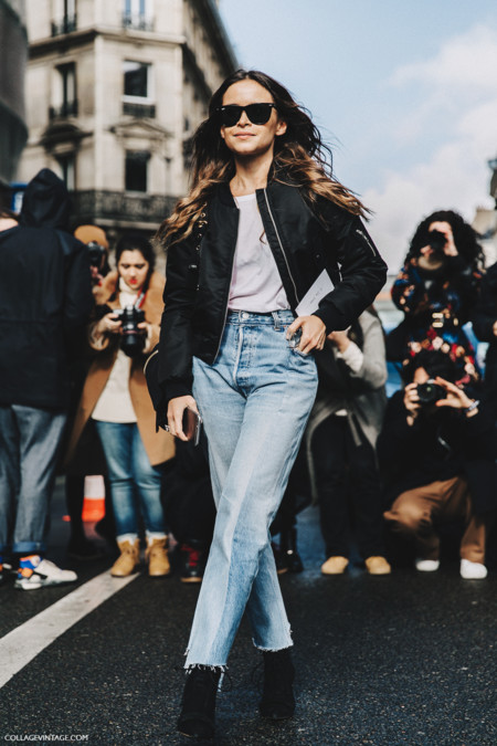 Pfw Paris Fashion Week Fall 2016 Street Style Collage Vintage Miroslava Duma Vetements Jeans Backpack Bomber 8