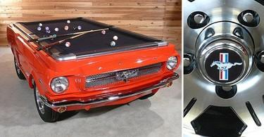 Un Mustang transformado en mesa de billar