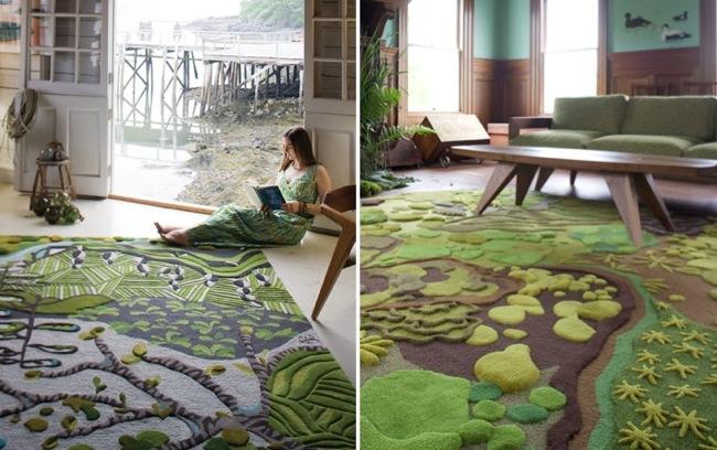 Crea con alfombras un jard n dentro de tu hogar for Alfombra verde para jardin