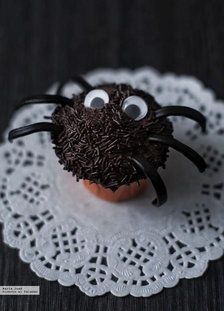Arañas cupcakes. Receta de Halloween