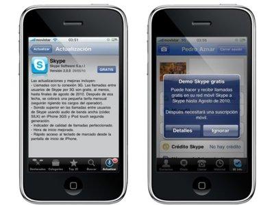 Skype actualiza su aplicación para iPhone ofreciendo llamadas 3G gratis hasta Agosto
