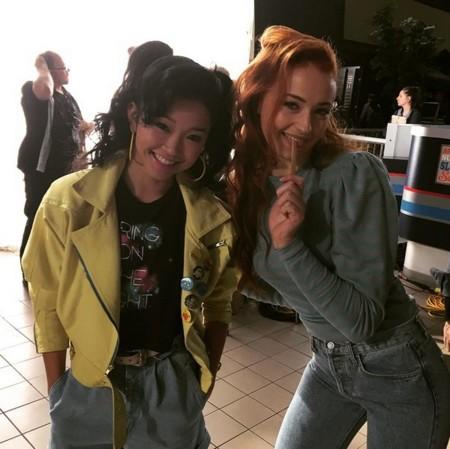 Lana Condor y Sophie Turner en el rodaje de X-Men: Apocalipsis