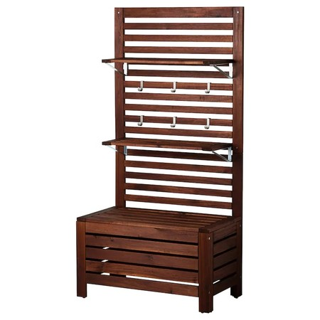 Aepplaroe Bench W Panel Shelves Outdoor Brown Stained 0148803 Pe307101 S5