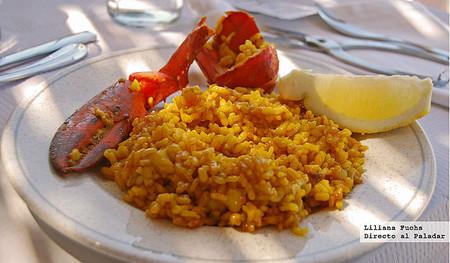 Restaurante La Cova del Mero. Arroz con bogavante emplatado