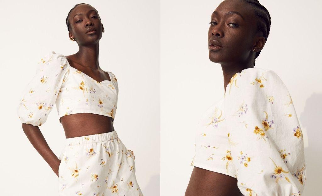 Blusa cropped con lino