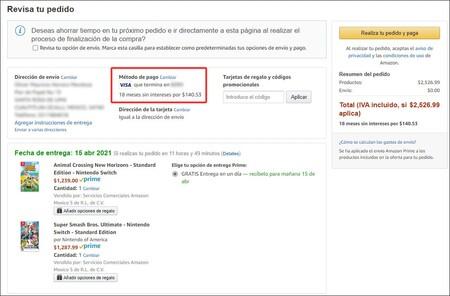 Videojuegos a meses sin intereses en Amazon México