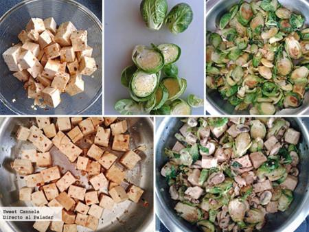 Preparación salteado de tofu con coles de Bruselas y champiñones