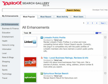 Yahoo Search Gallery