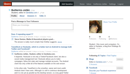 Un perfil en Quora
