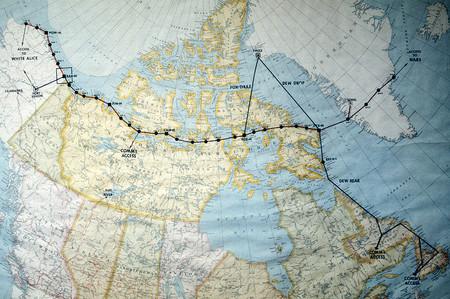Mapa de los radares de la Distant Early Warning o Dew Line
