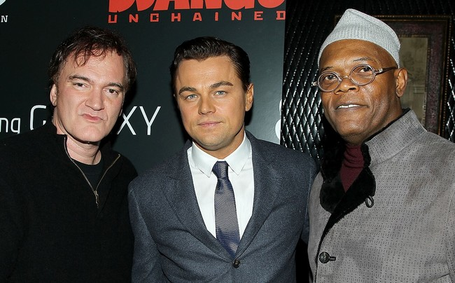 Quentin Tarantino, Leonardo DiCaprio y Samuel L. Jackson