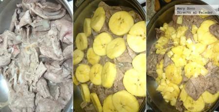 bisteces de res con plátano macho y piña
