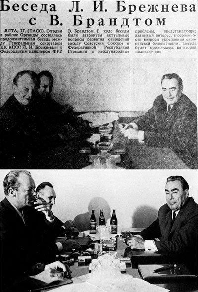 Los diarios sovieticos borran las botellas de alcohol de una reunion de Brezhnev y Brandt