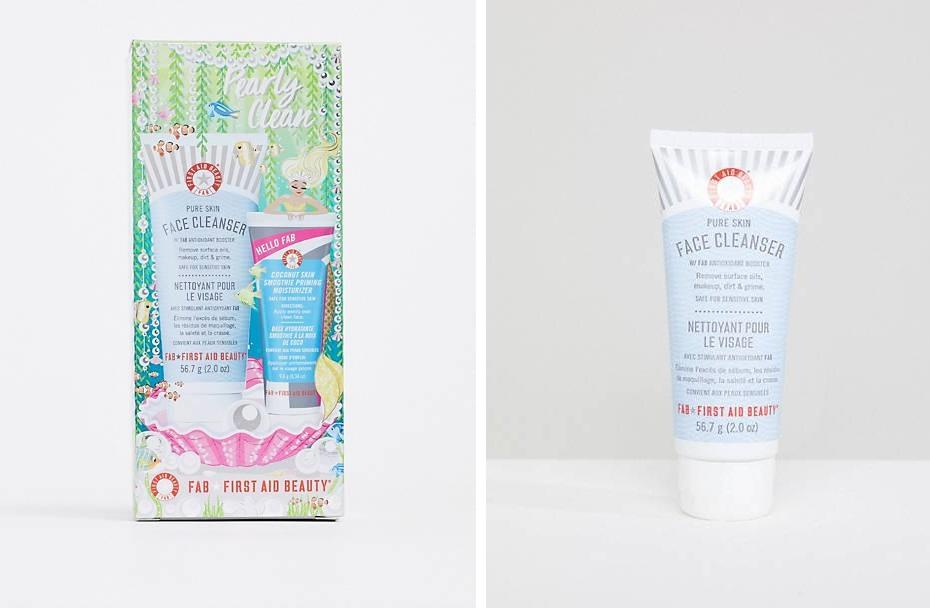 Dúo de limpiador facial y crema hidratante preparadora en formato viaje de First Aid Beauty