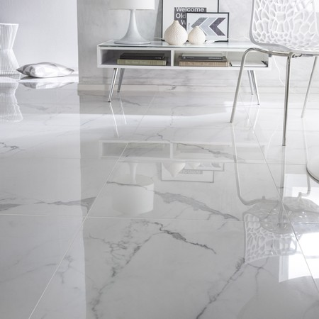 Carrelage Sol Et Mur Blanc Effet Marbre Rimini L 60 X L 60 Cm