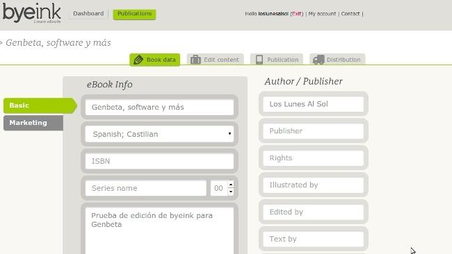 Byeink, un servicio para editar y publicar tus propios libros electrónicos