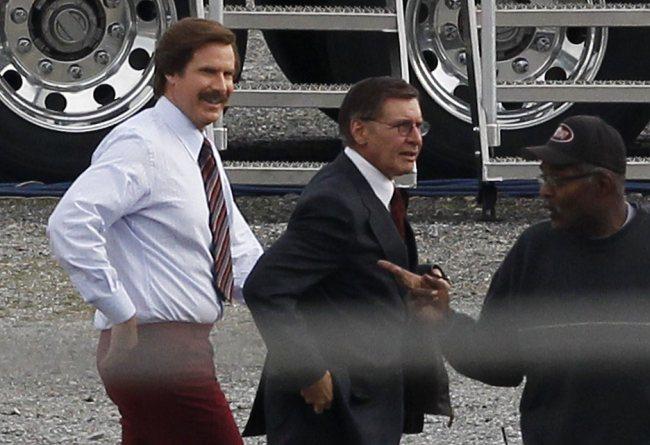 Will Ferrell y Harrison Ford en el rodaje de El Reportero 2