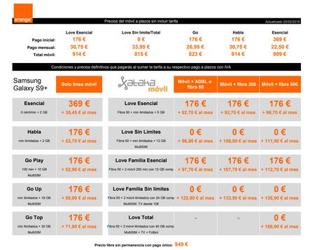 Precios Samsung Galaxy S9+ A Plazos Con Tarifas Orange