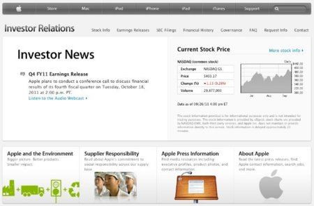 Apple renueva la sección para inversores de su web oficial y anunciará los beneficios del último trimestre fiscal el 18 de octubre