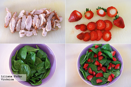 Ensalada de brotes de espinacas con pollo asado, fresas y queso de cabra. Receta saludable