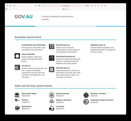 Web del gobierno australiano.