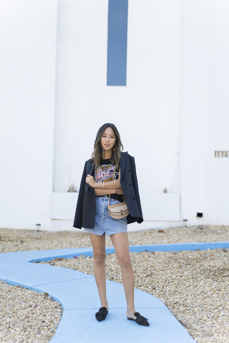Aimee Song Of Style Loewe Tshirt Vetements Skirt Blazer