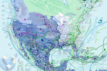 La exploración y conquista española de América del Norte, explicada en este detalladísimo mapa