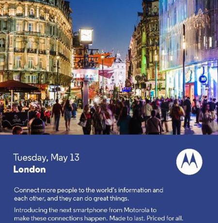 Motorola anunciará su próximo móvil ecónomico el 13 de mayo
