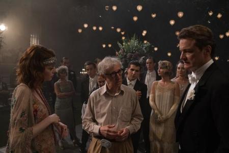 Woody Allen habla con Emma Stone y Colin Firth durante el rodaje