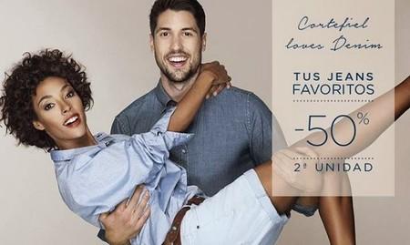 Segunda unidad de jeans a mitad de precio en Cortefiel