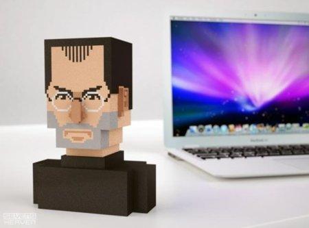 Busto pixelado de Steve Jobs