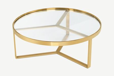 Mesa de centro Aula, latón cepillado y cristal