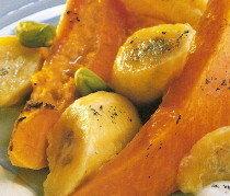 Papaya con plátano al horno