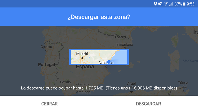 Google Maps concede descargar mapas en local, pero con un límite de 1.725 MB