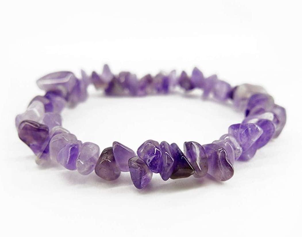 Pulsera Chip de Amatista Minerales y Cristales, Belleza energética, Meditacion, Amuletos Espirituales