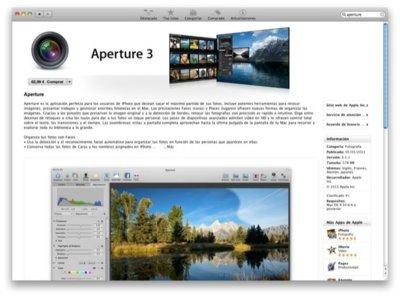 Aperture por 62,99 euros, sólo en la Mac App Store