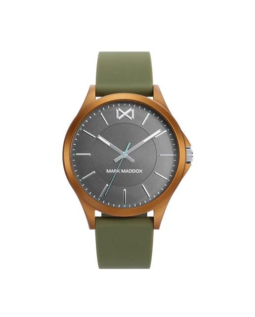Reloj de hombre Mark Maddox Shibuya tres agujas de aluminio naranja y correa de silicona verde