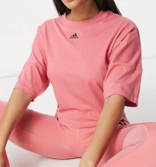 Camiseta rosa corta con 3 rayas Training de adidas